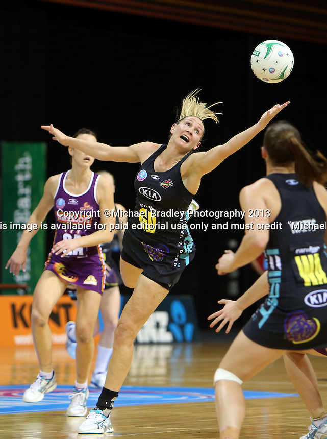 30.06.2013 Magic's Casey Kopua in action during the ANZ Champs Preliminary Semi Final netball match between the Magic and Firebirds played at Claudelands Arena in Hamilton. Mandatory Photo Credit ©Michael Bradley.