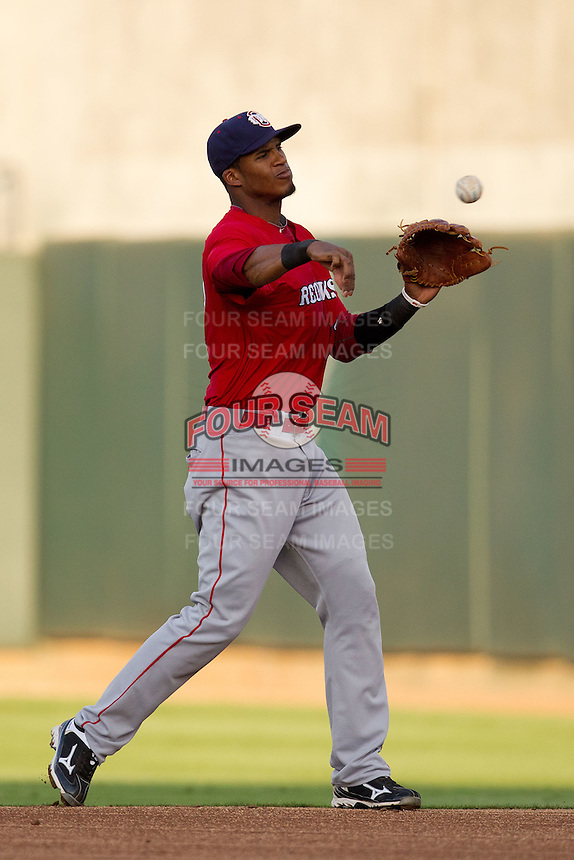 Oklahoma City RedHawks second baseman Jimmy Paredes #17 throws to first during the Pacific Coast League baseball game against the Round Rock Express on June 15, 2012 at the Dell Diamond in Round Rock, Texas. The Express shutout the RedHawks 2-1. (Andrew Woolley/Four Seam Images).