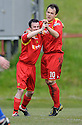 Scott Chaplain (10) celebrates with Robert Love (7) after he scores Albion Rovers' third goal from the penalty spot......