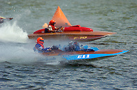 "E-11 ""Miss Bonnie"", 1999 Replica built from Champion Clarkcraft plans and Dan Joseph, F-10 ""Henry's Tenth"", 1952 Lauterbach 266 class hydroplane..2004 Madison Regatta, Madison, Indiana, July 4, 2004..F. Peirce Williams .photography.P.O.Box 455 Eaton, OH 45320.p: 317.358.7326  e: fpwp@mac.com."