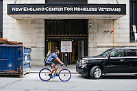 The New England Center for Homeless Veterans is seen on Court Street in downtown Boston, Mass., on Tues., June 28, 2016. The Center provides housing and food to homeless military veterans and also has programs for medical and mental health treatment, housing assistance, and job placement.