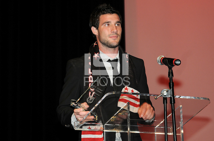 DC United midfielder Chris Pontius recipient of the Fan's Choice Award.   At the 6th Annual DC United Awards Presentation ,at the Atlas Performing Arts Center in Washington DC ,Wednesday October 27, 2009.
