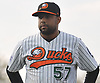 Newly signed pitcher Francisco Rodriguez #57 lines up along the first base line during player introductions that preceded the team's season home opener against the Southern Maryland Blue Crabs at Bethpage Ballpark in Central Islip, NY on Friday, May 4, 2018.