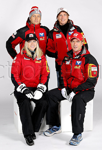 16.10.2010  Winter sports OSV Einkleidung Innsbruck Austria. Ski Nordic Ski jumping OSV Austrian Ski Federation. Picture shows Physiotherapist Silvia Stottinger Head coach Alexander Pointner front Spokesman Florian Kotlaba and Physiotherapist Herbert Leitner AUT rear