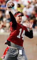 TALLAHASSEE, FL 4/10/10-FSU-SPRING FB10 CH-Former FSU quarterback Brad Johnson throws a pass during the alumni flag football game Saturday at Doak Campbell Stadium in Tallahassee. .COLIN HACKLEY PHOTO