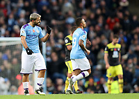 2nd November 2019; Etihad Stadium, Manchester, Lancashire, England; English Premier League Football, Manchester City versus Southampton; Sergio Aguero of Manchester City clenches his fist in celebration after scoring to level the score at 1-1 - Strictly Editorial Use Only. No use with unauthorized audio, video, data, fixture lists, club/league logos or 'live' services. Online in-match use limited to 120 images, no video emulation. No use in betting, games or single club/league/player publications