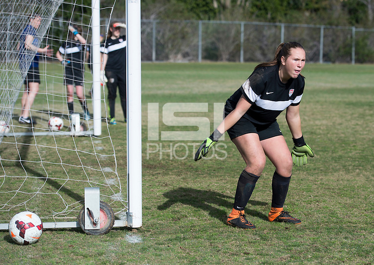 San Diego, CA - January 22, 2015: Girls Fantasy Camp participants train.
