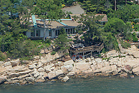 30 Wakefield Street, Branford, CT. Aerial View of Waterfront Home for Sale on Long Island Sound at outer edge of Branford Harbor, Connecticut.