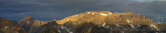 Panorama of morning light on the mountains of the Hoover Wilderness, Humboldt-Toiyabe National Forest, Mono County, Eastern Sierra, California
