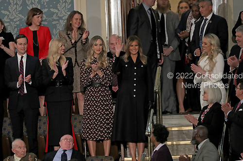 First lady Melania Trump waves as she arrives prior to United States President Donald J. Trump delivering his second annual State of the Union Address to a joint session of the US Congress in the US Capitol in Washington, DC on Tuesday, February 5, 2019.<br /> Credit: Alex Edelman / CNP