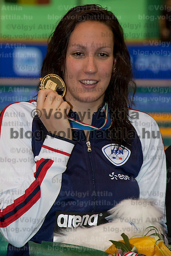 Alexianne Castel of France celebrates her victory in the Women's 200m Backstroke final of the 31th European Swimming Championships in Debrecen, Hungary on May 22, 2012. ATTILA VOLGYI31th European Swimming Championships in Debrecen, Hungary on May 22, 2012. ATTILA VOLGYI