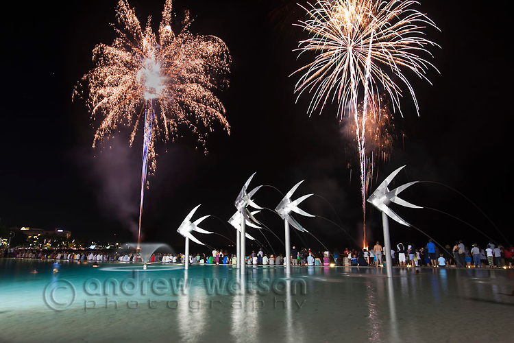 Fireworks over Esplanade Lagoon.  Cairns, Queensland, Australia