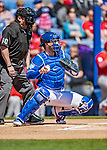 6 March 2019: Toronto Blue Jays top prospect catcher Danny Jansen in action during a Spring Training game against the Philadelphia Phillies at Dunedin Stadium in Dunedin, Florida. The Blue Jays defeated the Phillies 9-7 in Grapefruit League play. Mandatory Credit: Ed Wolfstein Photo *** RAW (NEF) Image File Available ***
