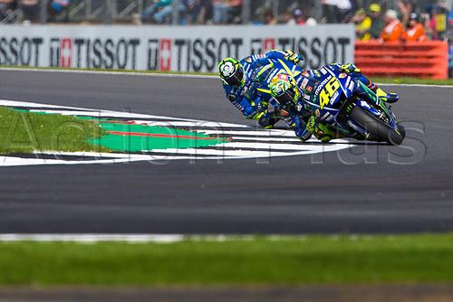26th August 2017, Silverstone Circuit, Northamptonshire, England; British MotoGP, Qualifying; Movistar Yamaha MotoGP MotoGP rider Valentino Rossi powers through Chapel curve