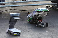 Apr. 13, 2012; Concord, NC, USA: NHRA radio controlled car of funny car driver Mike Neff made by Traxxas during qualifying for the Four Wide Nationals at zMax Dragway. Mandatory Credit: Mark J. Rebilas-