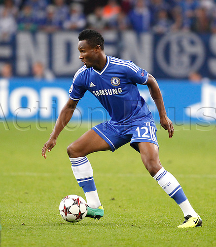 22.10.2013. Gelsenkirchen, Germany. Gelsenkirchen, Veltins-Arena, Chelsea's  John Obi Mikel during the match between FC Schalke 04 vs. Chelsea London in the champions league season 2013/2014.