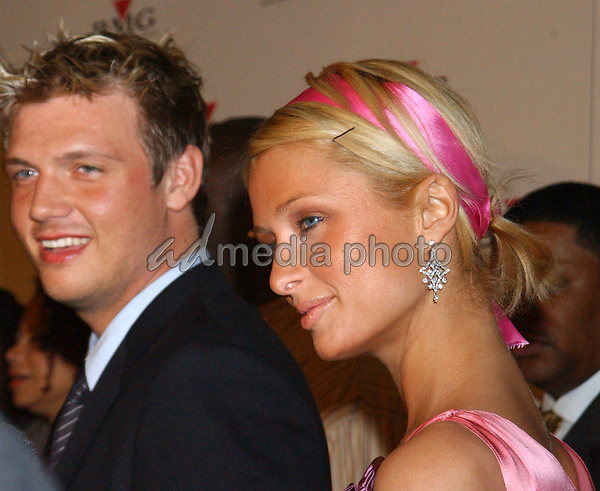 Feb. 8, 2004; Hollywood, CA, USA; Socialite PARIS HILTON and NICK CARTER during the BMG 46th Annual Grammy Awards Post-Grammy Gala Celebration held at The Avalon. Mandatory Credit: Photo by Laura Farr/AdMedia. (©) Copyright 2003 by Laura Farr