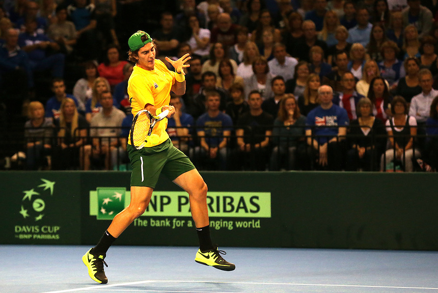 Thanasi Kokkinakis in action during his match against Andy Murray<br /> <br /> Photographer Stephen White/CameraSport<br /> <br /> International Tennis - 2015 Davis Cup by BNP Paribas - World Group Semi-Final - Great Britain v Australia - Day 1 - Friday 18th September 2015 - The Emirates Arena - Glasgow<br /> <br /> &copy; CameraSport - 43 Linden Ave. Countesthorpe. Leicester. England. LE8 5PG - Tel: +44 (0) 116 277 4147 - admin@camerasport.com - www.camerasport.com.