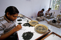 In Jaipur India, the world capital leader of Emerald cutter, this men is in charge of selecting the quality by colour will the other are giving the first cut on the stone