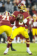Landover, MD - December 30, 2018: Washington Redskins quarterback Josh Johnson (8) in action during the  game between Philadelphia Eagles and Washington Redskins at FedEx Field in Landover, MD.   (Photo by Elliott Brown/Media Images International)