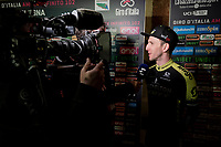 Simon Yates (GBR/Mitchelton-Scott) interviewed at the official team presentation of the 102nd Giro d'Italia 2019 at the Grande Partenza in Bologna<br /> <br /> ©kramon