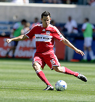 Chicago Fire midfielder Marco Pappa (16) kicks the ball.  FC Dallas defeated the Chicago Fire 3-0 at Toyota Park in Bridgeview, IL on May 31, 2009.