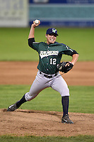 Jamestown Jammers pitcher Nick Neumann (12) delivers a pitch during a game against the Batavia Muckdogs on July 25, 2014 at Dwyer Stadium in Batavia, New York.  Batavia defeated Jamestown 7-2.  (Mike Janes/Four Seam Images)