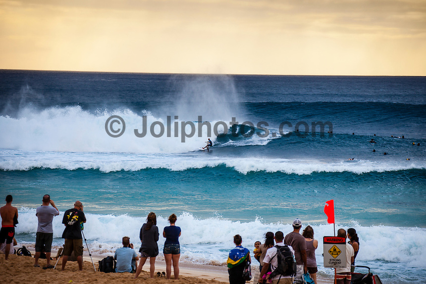 HONOLULU, Oahu, Banzai Pipeline - (Saturday, December 8, 2012) Kelly Slater (USA) .-- The Billabong Pipe Masters got underway on the very first day of the 12 day waiting period in a 5'-10' west swell. The contest kissed off at 11am as the new swell started to fill in. By mid afternoon there were 10' plus 2nd reef sets. There were pumping waves for all the heats. Upsets of the day included local Surfer Kalani Chapman (HAW) defeating Tiago Pires (PRT) and Cj Hobgood (USA) eliminating local hero and former event winner Jamie O'Brien (HAW)..All of Round 1 and three heats of Round 2 were completed. All three surfers in the running for the 2012 World Title, Joel Parkinson (AUS), Kelly Slater (USA) and Mick Fanning (AUS) did not surf today as they are seeded into the 3rd round. .Photo: joliphotos.com