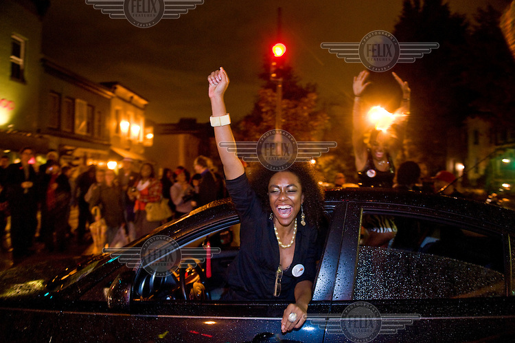 Washingtonians celebrate moments after it was announced that Barack Obama had won the presidential election.