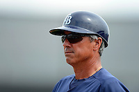 Tampa Bay Rays third base coach Tom Foley #6 during a Grapefruit League Spring Training game against the Boston Red Sox at Charlotte County Sports Park on February 25, 2013 in Port Charlotte, Florida.  Tampa Bay defeated Boston 6-3.  (Mike Janes/Four Seam Images)