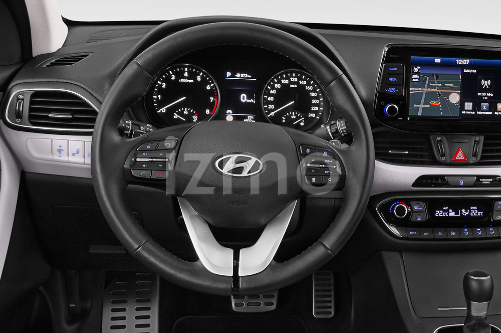 Car pictures of steering wheel view of a 2018 Hyundai i30 Fastback Shine 5 Door Hatchback