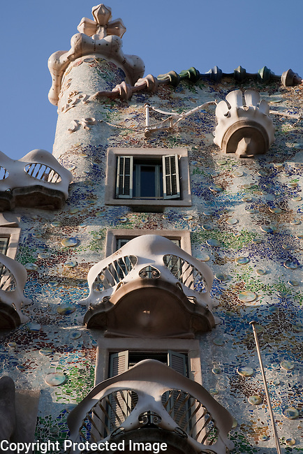 Facade of Batllo House by Gaudi, Barcelona, Catalonia, Spain