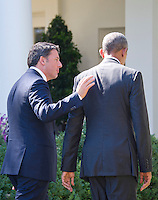 United States President Barack Obama and Prime Minister Matteo Renzi of Italy depart after holding a joint press conference in the Rose Garden of the the White House in Washington, DC on Tuesday, October 18, 2016. <br /> Credit: Ron Sachs / CNP /MediaPunch
