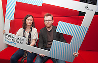 ***NO FEE PIC *** 05/06/2014 (L to R) Roisin Loughrey director of The Room & Jury Member Brian Gleeson – Actor (Love/Hate, Snow White and the Huntsman) during the launch of the ICCL (Irish Council for Civil Liberties) Human Rights Film Awards Shortlist at the IFCO in Smith field, Dublin. Photo: Gareth Chaney Collins