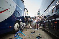 Frederik Willems (BEL) explaining  to the media where things went wrong for the team in stage 12<br /> <br /> Tour de France 2013<br /> stage 12: Fougères - Tours 218km