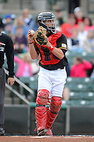 Rochester Red Wings catcher Eric Fryer #19 during a game against the Durham Bulls on May 17, 2013 at Frontier Field in Rochester, New York.  Rochester defeated Durham 11-6.  (Mike Janes/Four Seam Images)