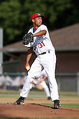 July 6th 2008:  Pitcher Castillo Perez of the Auburn Doubledays, Class-A affiliate of the Toronto Blue Jays, during a game at Falcon Park in Auburn, NY.  Photo by:  Mike Janes/Four Seam Images