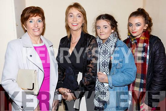 Brid Ann  and Maura O'Connor, Bronagh O'Neill and Danielle O'Neill  enjoying the Castleisland Fashion show in the Ivy Leaf on Thursday night