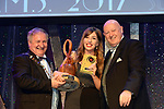Karen McCourt, Baldoyle Musical Society, County Kildare winner of the Best Actress in a Supporting Role / Sullivan Section for her role as 'Gertrude McFuzz' in 'Seussical' receiving the trophy from on  left, Colm Moules, President, AIMS and Seamus Power, Vice-President at the Association of Irish Musical Societies annual awards in the INEC, KIllarney at the weekend.<br /> Photo: Don MacMonagle -macmonagle.com<br /> <br /> <br /> <br /> repro free photo from AIMS<br /> Further Information:<br /> Kate Furlong AIMS PRO kate.furlong84@gmail.com