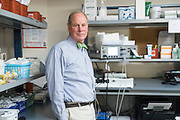 Dr. Charles Welch is an Attending Psychiatrist at McLean Hospital and an Assistant Professor of Psychiatry at Harvard Medical School Teaching Hospital and a leading practitioner of electroconvulsive therapy (ECT). He is seen here in a treatment room in the ECT and TMS Unit at McLean Hospital in Belmont, Massachusetts, on Mon., Dec. 12, 2016. Kitty Dukakis, wife of former Massachusetts governor Michael Dukakis, is a patient of Dr. Welch. <br />  To the right of Dr. Welch, on the shelf, is the MECTA spECTrum 5000q electroconvulsive therapy device used in treatment.