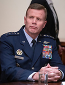 United States Air Force Tod D. Wolters, commander of the US European Command and NATO Supreme Allied Commander Europe, participates in a briefing with US President Donald J. Trump and senior military leaders in the Cabinet Room of the White House in Washington, DC on Monday, October 7, 2019.<br /> Credit: Ron Sachs / Pool via CNP