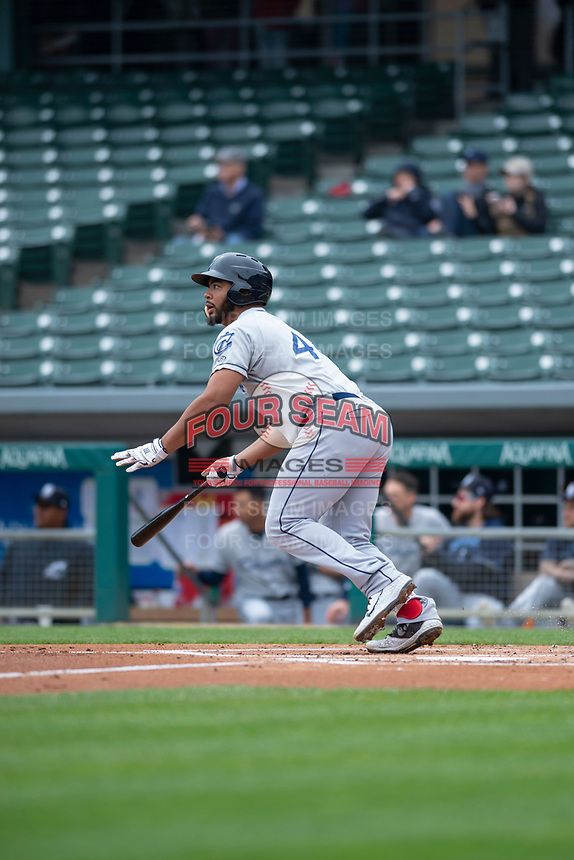 Columbus Clippers first baseman Bobby Bradley (44) starts down the first base line during an International League game against the Indianapolis Indians on April 30, 2019 at Victory Field in Indianapolis, Indiana. Columbus defeated Indianapolis 7-6. (Zachary Lucy/Four Seam Images)