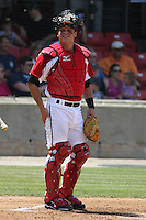 Devin Mesoraco #36 of the Carolina Mudcats behind the plate during a game against the West Tenn Diamond Jaxx on May 30, 2010 in Zebulon, NC.