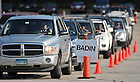 Aug. 19, 2011; Cars wait in the D6 staging area...Photo by Matt Cashore/University of Notre Dame