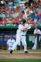 Kane County Cougars right fielder Ernie De La Trinidad (17) at bat during a game against the West Michigan Whitecaps on July 19, 2018 at Northwestern Medicine Field in Geneva, Illinois.  Kane County defeated West Michigan 8-5.  (Mike Janes/Four Seam Images)