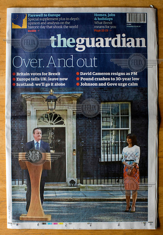 The front cover of theGuardian newspaper on 25 June 2016, two days after the EU referendum. The Guardian supported the Remain (in the EU) side during the campaign leading up to the vote.
