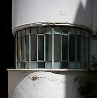 A window detail of a Bauhaus style building at 21 Frischmann Street. Tel Aviv is known as the White City in reference to its collection of 4,000 Bauhaus style buildings, the largest number in any city in the world. In 2003 the Bauhaus neighbourhoods of Tel Aviv were placed on the UNESCO World Heritage List. ..
