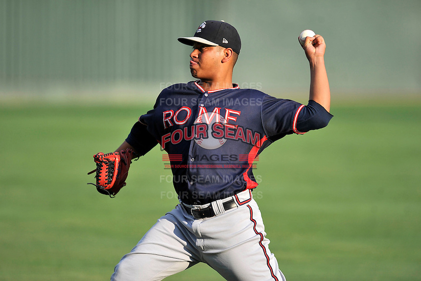 Starting pitcher Ricardo Sanchez (57) of the Rome Braves warms up before a game against the Greenville Drive on Tuesday, August 30, 2016, at Fluor Field at the West End in Greenville, South Carolina. Greenville won, 7-3. (Tom Priddy/Four Seam Images)