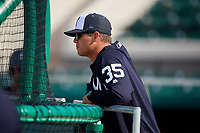 Tampa Tarpons hitting coach Eric Duncan (35) during batting practice before a game against the Lakeland Flying Tigers on April 5, 2018 at Publix Field at Joker Marchant Stadium in Lakeland, Florida.  Tampa defeated Lakeland 4-2.  (Mike Janes/Four Seam Images)
