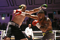 Spiros Demetriou (grey shorts) defeats Tomislav Rudan during a Boxing Show at York Hall on 10th June 2017